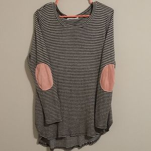 Long sleeve striped shirt with elbow patches